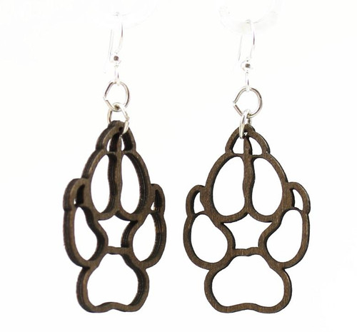 """1.4"""" x 1.1"""" Designed Brown Wolf Paw Earrings"""