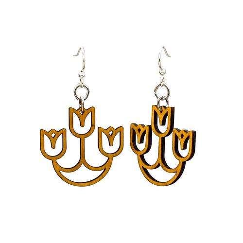 """1.3"""" x 1.3"""" Designed Tan Tulip Chandelier Earrings"""
