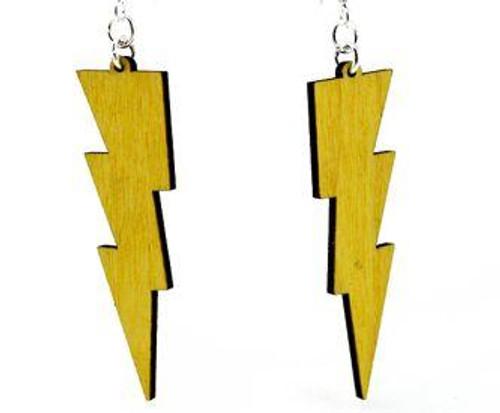 "2"" x 0.6"" Yellow Wide Lightning Bolt Earrings"