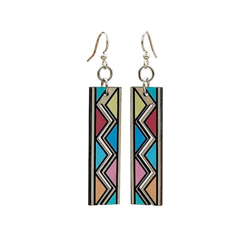 "0.5"" x 1.6"" Designed Multicolor Safari Print Earrings"
