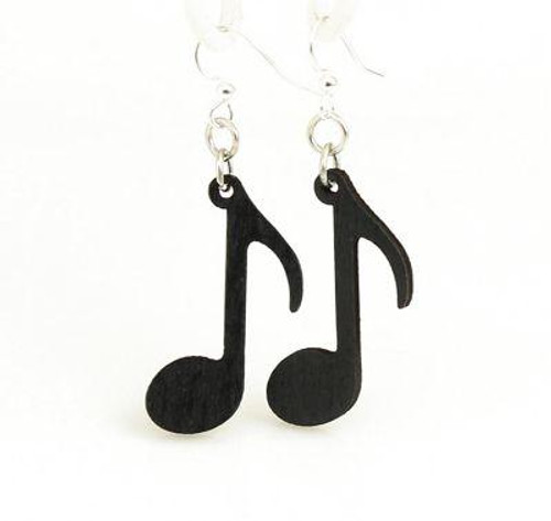 "1.3"" x 0.8"" Black Satin Music Note Earrings"