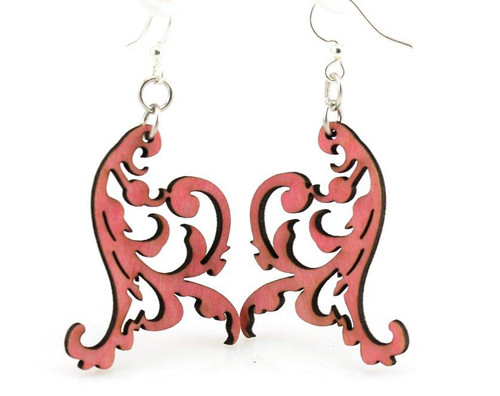 "1.8"" x .1.7"" Designed Cherry Red Swaying Vines Earrings"