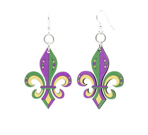 1.0 x 1.4 Multicolor & Designed Mardi Gras Fluer De Lis Earrings