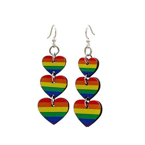 "0.8"" x 1.7"" Designed Rainbow Heart Earrings"