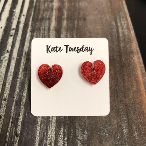Nickel & Lead Free Red Glitter Broken Heart Earrings