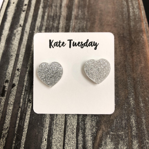Silver Glitter Heart Stud Earrings