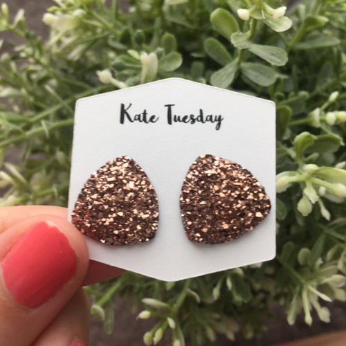 Large Rose Gold Triangle Druzy Earrings