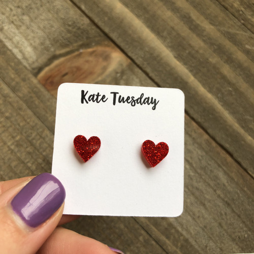 Little 9mm Red Acrylic Glitter Heart Earrings