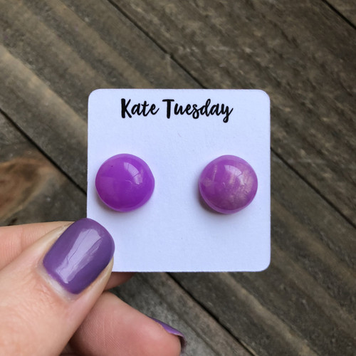 Purple PoP Druzy Like 12mm Earrings Raw