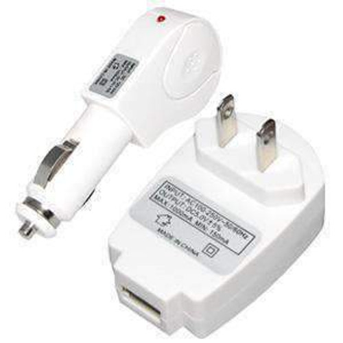 High Quality 2 in 1 Travel Car Charger Kit - White