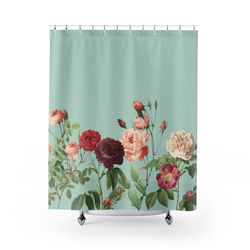 100% Polyester Rose Garden in Teal Shower Curtains