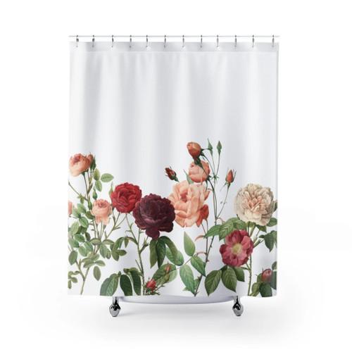 100% Polyester Rose Garden Shower Curtains