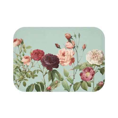 "24"" x 17"" Multicolor Rose Garden Teal Bath Mat"