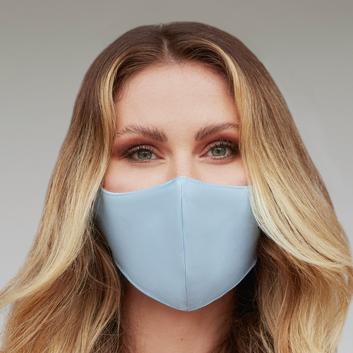 Unique 3 Layers Solid Baby Blue Face Mask