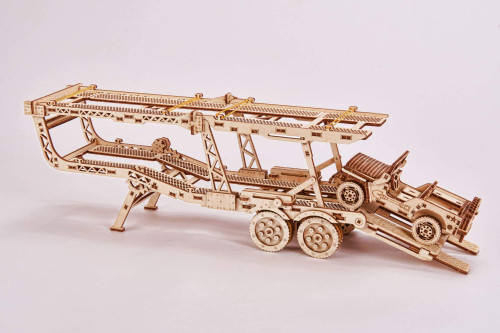 Unique Wooden Model Of Car Trailer With A Jeep (addition to the Big Rig)