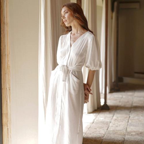 Meghan Crinkle Midi Dress in Off-White