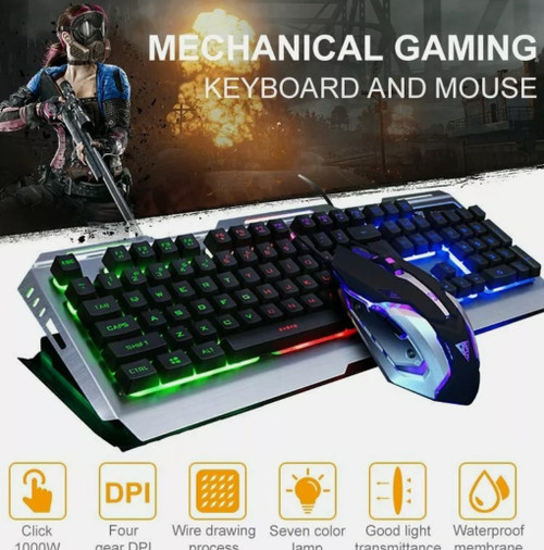 Ninja Dragon Metallic Silver Mechanical Gaming Keyboard and Mouse Set