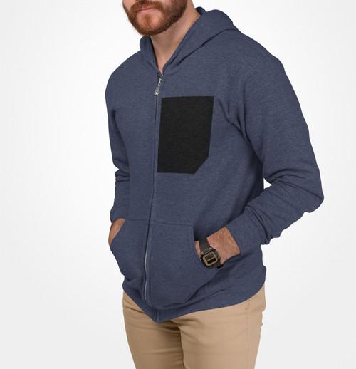 Mens Comfy Faux Black Pocket Heavy Blend Zip Up Hoodie