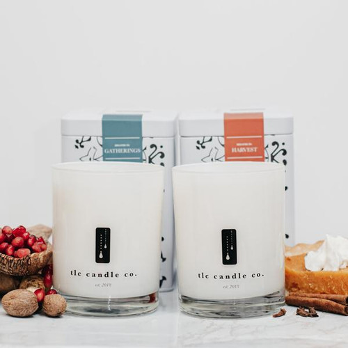 """""""Fall"""" Harvest & Gathering Luxury 2-Wick Pure Soy Candle Duo"""