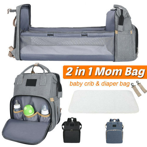 Spacious Versatile Stroller Diaper Bag with Baby Bed