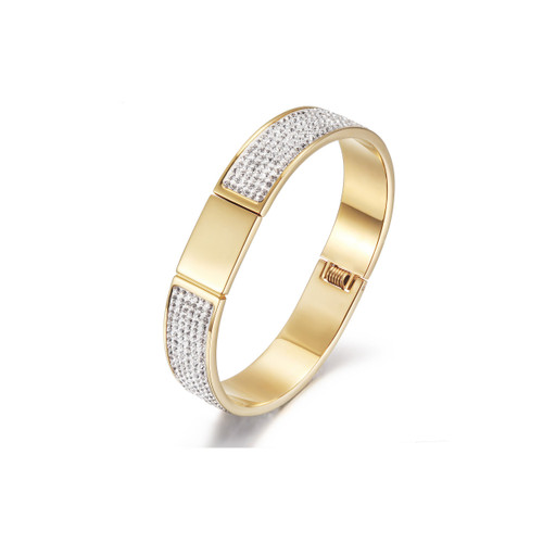 14KT Gold PVD Plated FLAWLESS PAVÉ BANGLE