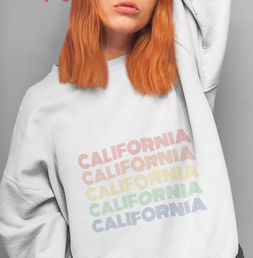 Womens Retro California Soft Cotton Sweatshirt