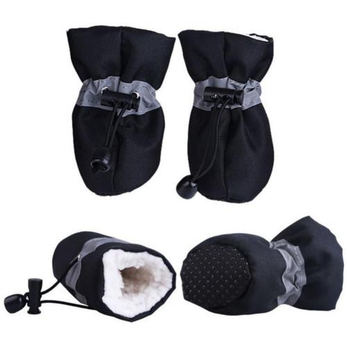 Dogs Winter Warm Soft Comfy Non Slip Shoes 4 PCS Set