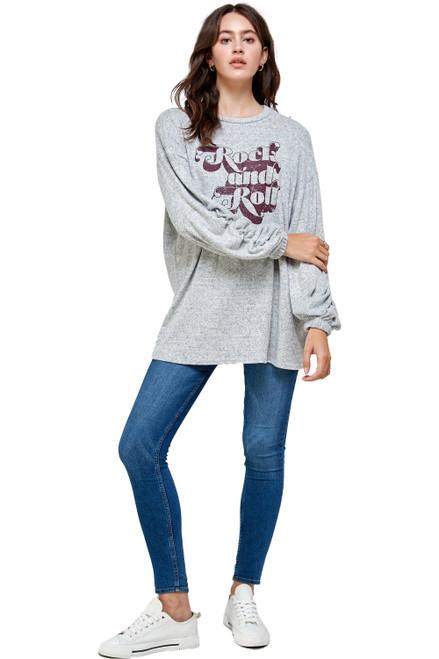 Elegant Brushed Knit Screen Print Loose Fit Sweat Shirts