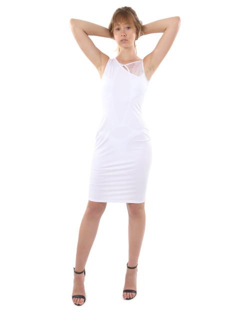 Eden Asymmetric Neckline Edgy Sexy Mini Dress - White