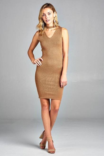 Women's Ribbed Sleeveless V-Neck Choker Sweater Dress