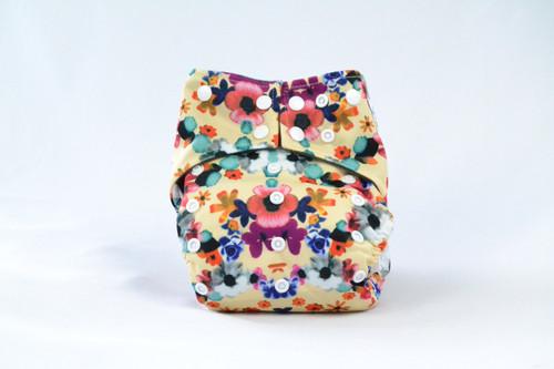 Multicolor Adjustable snaps Earthlie Cloth Diaper - Flowers