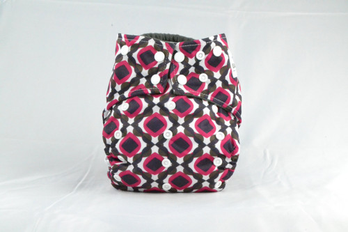 Colorful Waterproof outer lining Earthlie Cloth Diaper - Red & Black