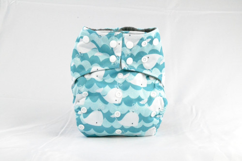 Colorful Adjustable snaps Earthlie Cloth Diaper - Whales