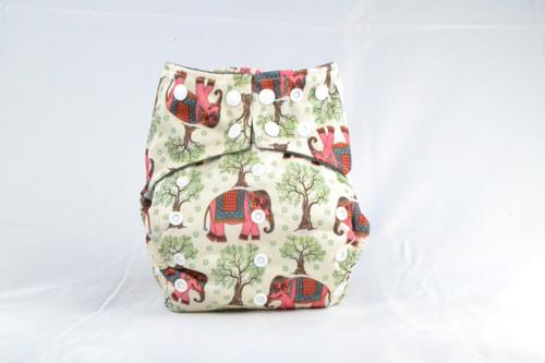 Multicolor Adjustable snaps Earthlie Cloth Diaper - Elephants