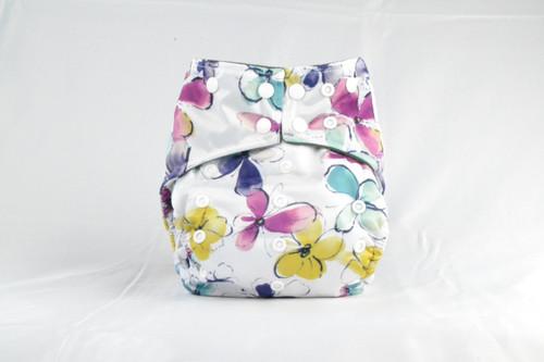 Multicolor Adjustable snaps Earthlie Cloth Diaper - Pastel Flowers