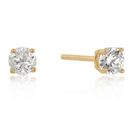 Classic 4mm New Sterling Round Cut Cubic Zirconia Studs Gold