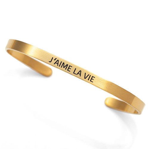 """""""J'aime la vie"""" - """"I Love Life"""" Gold Plated Stainless Steel Cuff"""