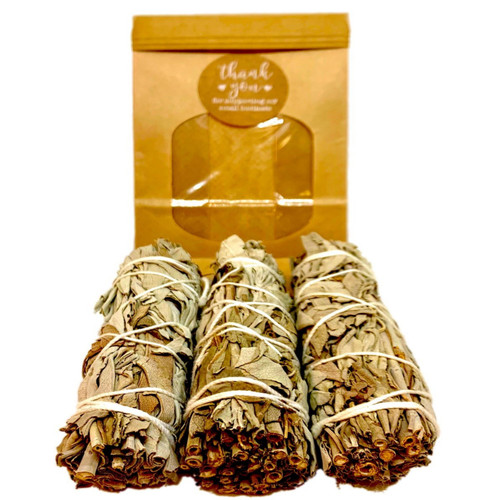 White Sage Smudge Pack of 3- Bless, Cleanse & Heal