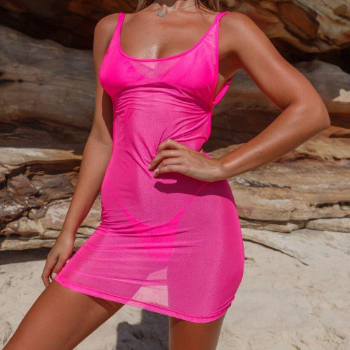 Spiked Punch - Neon Pink Cover up Strappy Back Sheer Mesh Dress