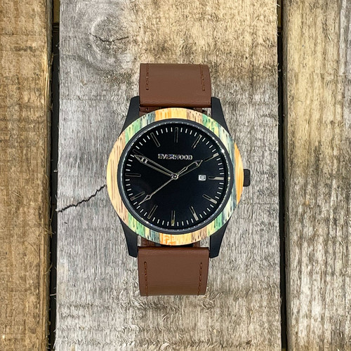 Inverness - Multi Bamboo & Brown Leather Strap Watch