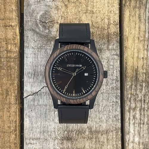 Inverness - Walnut & Black Leather Strap Watch