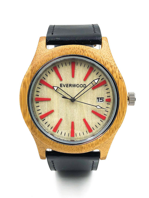 Kylemore - Bamboo Black Leather Strap Watch