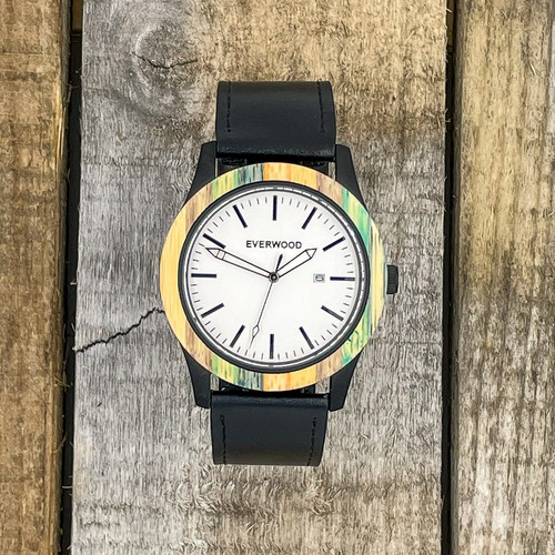 Inverness - Multi Bamboo & Black Leather Strap Watch
