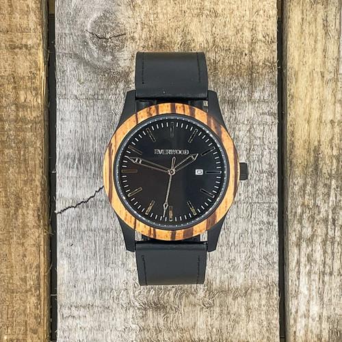 Inverness - Zebrawood & Black Leather Strap Watch