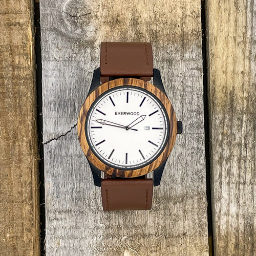 Inverness - Zebrawood & Brown Leather Strap Watch