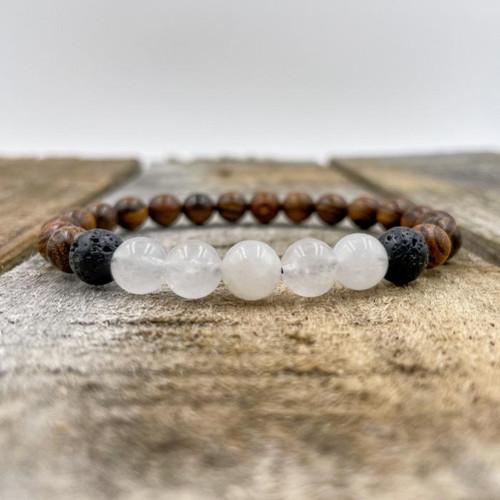 Kingston - Moonstone, Tigerskin, Sandalwood & Lava Rock Beads Bracelet