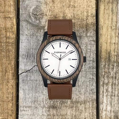Inverness - Walnut & Brown Leather Strap Watch