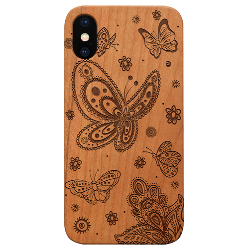 Butterflies - Eco-Friendly Wooden Engraved Phone case