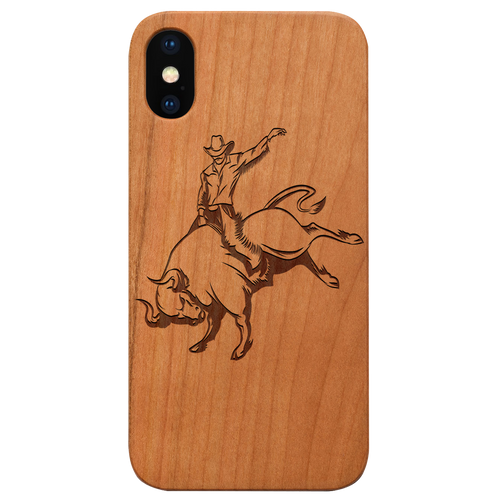 Bull Rider - Eco-Friendly Wooden Engraved Phone case