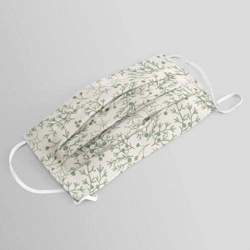 Green Christmas Branch Washable Face Mask